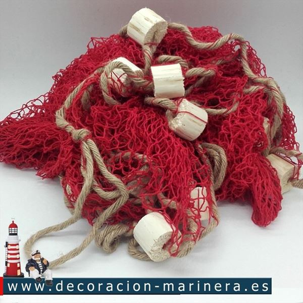Red roja 340 x 340 decoración marinera